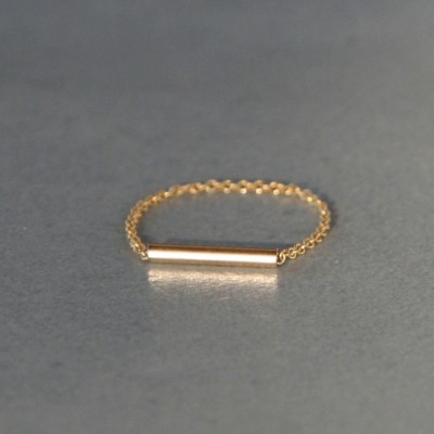 Bague chaîne Hyphen dorée