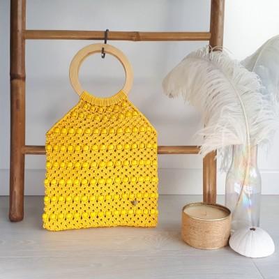 Sac macramé et perles - jaune