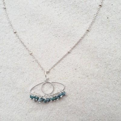 Collier - Œil - diamants...